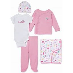 Garanimals Newborn Baby Girl Clothes Baby Shower Gift Set, 5-Piece
