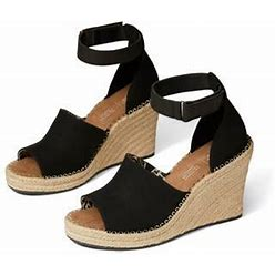 TOMS Marisol Espadrille Wedge Sandal, Size 7 In Black Blended At Nordstrom