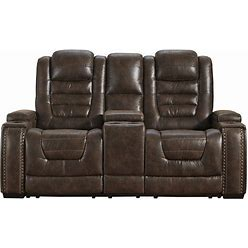 Signature Design By Ashley Game Zone Power Recliner Loveseat With Console And Adjustable Headrest In Bark 3850118