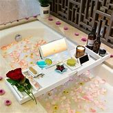 Rebrilliant Bathtub Caddy Tray For Luxury Bath - Bamboo Waterproof Expandable Bath Table Over Tub W/ Wine & Book Holder & Free Soap Dish () Wood