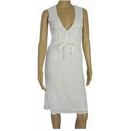 Antik Batik Womens 'Mala' V-Neck Mini Dress, White, Size M, Women's, Size: Medium