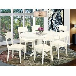 East West Furniture Avad7-Lwh-Lc 7 Pc Dining Set With A Kitchen Table And 6 Faux Leather Seat Kitchen Chairs In Linen White-Finish:Linen White,