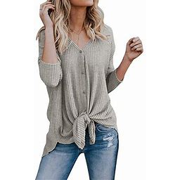 Vista Women's Cardigans Casual Lightweight V Neck Long Sleeve Cardigan Sweaters With Buttons, Size: Large, Gray
