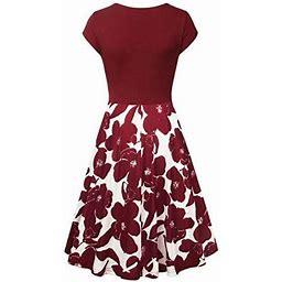 Aurorax Women's Short Sleeve Cross V- Neck Dresses Vintage Elegant Flared A-Line Dress Red L, Size: Large