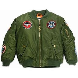Up And Away Ma-1 Flight Jacket Green 10, Boy's, Size: One Size