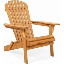 Best Choice Products Folding Wood Adirondack Chair Accent Furniture For Yard, Patio, Garden W/ Natural Finish - Brown, Size: 30.5(Large) X 28(W) X 35(