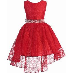 Blunight Collection Big Girl Sleeveless Floral Lace Tulle Knee Length Pageant Flower Girl Dress Flower Girl Dress (j3744k) Red 18, Girl's