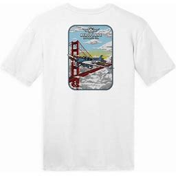 Aeroplane Apparel Company Cirrus Golden Gate Bridge Aeroplane Apparel Co. Men's T-Shirt, Size: Small, White