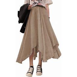 Zanzea Women's High Waist Solid Pleated Skirts Maxi Long Skirt Beach Baggy Dress, Size: Medium, Beige
