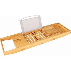 Bathtub Extendable Caddy Bamboo Bath Rack, Adjustable Home Wooden Tray For Bathroom