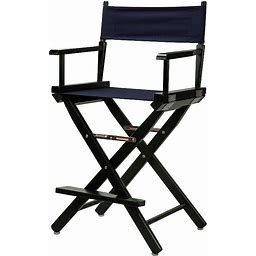 """Casual Home 24"""" Black Finish Director's Chair, Blue"""