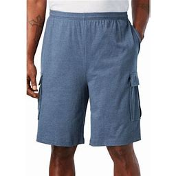 Kingsize Men's Big & Tall Lightweight Jersey Cargo Shorts, Size: Big - 8XL, Blue