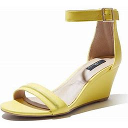 Dailyshoes Wedge Heeled For Women Mid Sandal Ankle Strap Open Toe Sandals Cross Summer Beach Straps Buckle Toed Strappy Wendy-18 Yellow Pu 7.5,