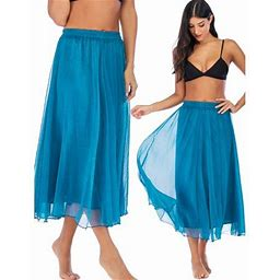 SAYFUT Women's Summer Beach Dresses Elastic High Waist Flared Pleated Maxi Dress, Size: Medium Fit Waist 21-33, Purple