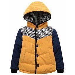 Richie House Little Boys Yellow Denim Sleeve Check Detail Padding Jacket 1/2, Boy's