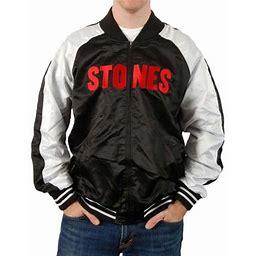 Rolling Stones Men's RS Stones Silk Varsity Mens Jacket Varsity Jacket Black/White, Size: Large