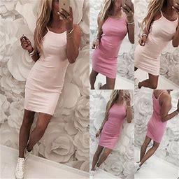 Meihuida Womens Bodycon Strap Sleeve Holiday Dress Ladies Party Mini Dress Size 6-14, Women's, Size: Medium, Pink