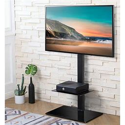 Fitueyes Height Adjustable Black Floor TV Stand For TVs Up To 60'with Swivel Mount Tt206001gb, Size: 25.3 X 15 X 48.8
