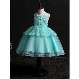 Unomatch Kids Girls Crochet Lace Ball Gown Skirt Wedding Dress, Girl's, Size: 6, Green
