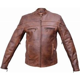 Men's Fashion 48 Size Cafe Brown Vented Front & Back Touring Buffalo Leather Jacket