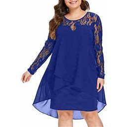 Pink Queen Women Casual Solid Colors Knee-Length Sheer Lace Sleeve O-Neck Swing Dress, Women's, Size: 4XL, Blue