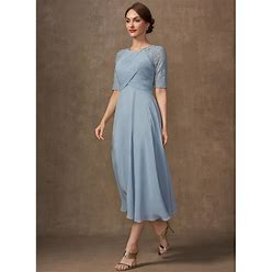 Jjshouse A-Line Scoop Neck Tea-Length Chiffon Lace Mother Of The Bride Dress With Ruffle