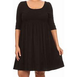 BNY Corner Women Plus Size Half Sleeve Solid Babydoll Casual Tunic Top Dress Black 3XL (d240 SD), Women's