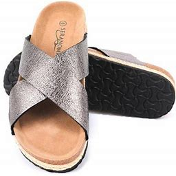 Seranoma Women's Comfort Slide Cork Sandals | Metallic Criss-Cross Straps, Size: 10, Black