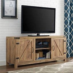The Gray Barn Firebranch 58 Inch Barn Door TV Stand Console - 58 X 16 X 24H, Size: 58 Barn Door TV Stand With Doors - Barnwood, Brown