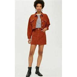Ex Topshop Tall Rust Corduroy Skirt Uk 18 Us 14 Eur 46 (ts23-4)