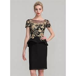 Jjshouse Sheath Column Scoop Neck Knee-Length Chiffon Mother Of The Bride Dress With Lace Cascading Ruffles