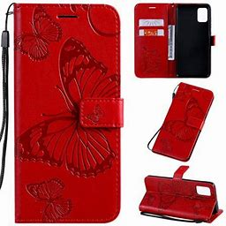 Samsung Galaxy A51 (4G) Case, Dteck Embossed Butterfly Magnetic Flip PU Leather Wallet Case Stand Protective Cover With Hand Strap [Built-In Credit