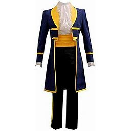 Prince Cosplay Costume Mens Uniform Outfit Full Set (Large) Blue 00003