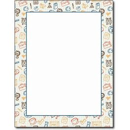 Academic Border School Stationary - 80 Sheets - Great For Parties, Flyers, Announcements