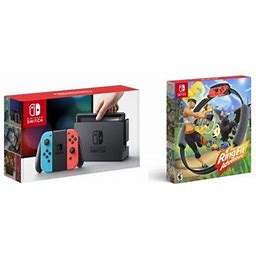 New Nintendo Switch Neon Red/Blue Joy-Con Improved Battery Life Console Bundle With New Ring Fit Adventure