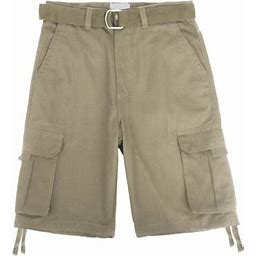 Ma Croix Men's Utility Multi Pockets Comfortable Twill Cargo Shorts With Belt, Size: 38, Brown