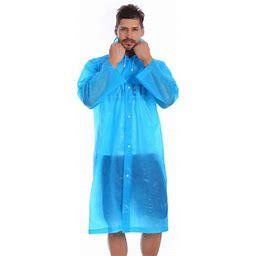 Bebiullo Men Women Waterproof Jacket EVA Hooded Raincoat Rain Coat Poncho Rainwear, Adult Unisex, Size: One Size, Blue