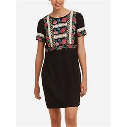 Desigual Women's Floral Embroidery Tralee Dress, Negro, 40