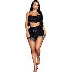 Dance Costumes Skirts Tassel Split Joint Paillette Women's Party Performance Sleeveless Polyester Black M 0000D
