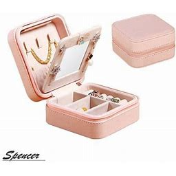 Spencer Mini Portable Leather Travel Jewelry Organizer Box With Zippered Closure, Display Storage Case Gift For Women & Girls Holder For Earrings
