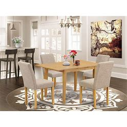 EAST WEST FURNITURE NOAB5-OAK-04 5Pc Set Includes A Rectangle 42/53.5 Inch Dinette Table With Butterfly Leaf And 4 Parson Chair With Oak Leg And