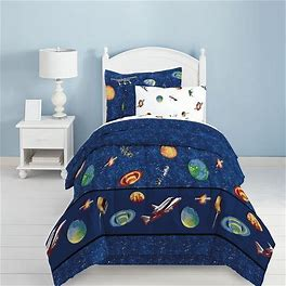 Dream Factory Outer Space Reversible Bed Set, Blue, Twin