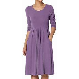 Themogan Women's Plus 3/4 Sleeve Stretch Jersey Pleated Waist Babydoll Dress, Size: 1XL, Purple