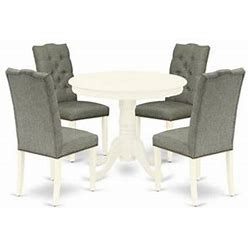 East West Furniture Antique 5-Piece Wood Dining Set In Linen White/Smoke