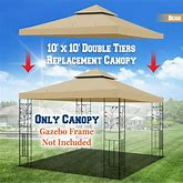Double Tier Replacement Canopy Cover For 10X10 Ft Gazebo - Beige
