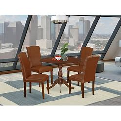 5-Pc Dining Set Includes Pedestal Dining Table And 4 Dining Chair - (Color Option Available) - DMEN5-MAH-66