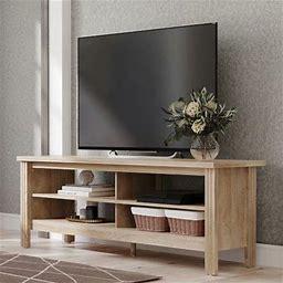 Wampat Farmhouse TV Stand For 65 Inch Flat Screen, Living Room Storage Shelves Entertainment Center,Oak
