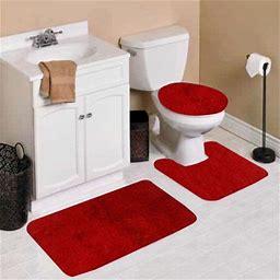 3Pc 4 RED Banded Bathroom Set Bath MAT Countour RUG LID Cover Plain Solid Colors