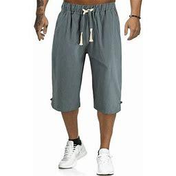 Hcgsss Men's Elastic Waist Drawstring Solid Color Casual Shorts, Size: XL, Green